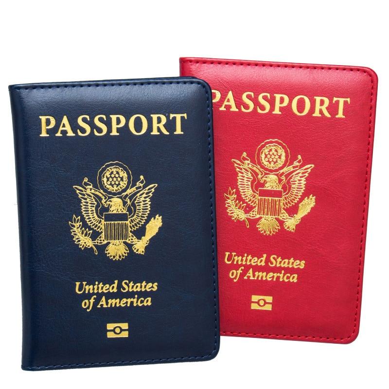 USA Passport Cover Pink Women Cute America Emblem Travel Passport Holder SIM Girls Soft PU Leather Passport Case
