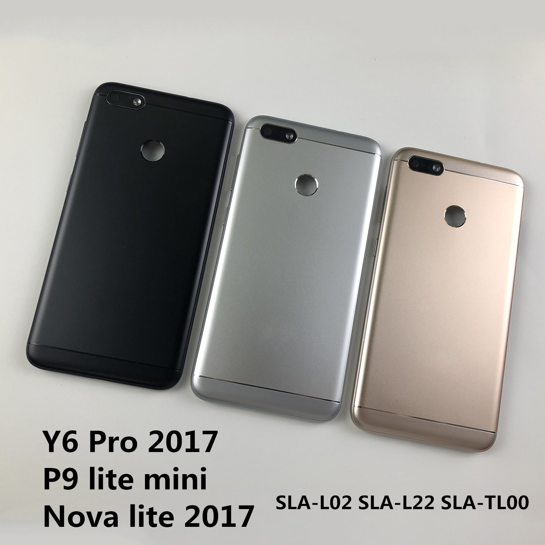 Для huawei Y6 Pro 2017/P9 lite Мини корпус крышка батареи задняя крышка и задняя камера стекло объектив и Кнопки громкости питания + логотип