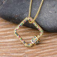 Collier pendentif CZ arc-en-ciel, couleur or, avec chaîne, Micro pavé carrés, fermoirs carrés, bijoux à bricoler soi-même fermoirs, mousqueton pour la fabrication de bijoux