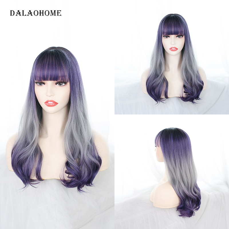 Dalaohome Ombre Long Water Wave Wig Synthetic Lolita Heat Resistant Fiber Wigs Hair Curly Colorful Cosplay Straight Woman Hairs