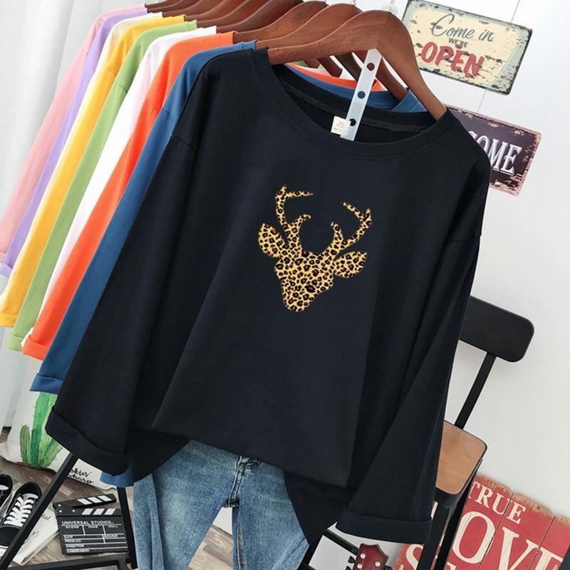 DONAMOL de talla grande moda femenina camisetas primavera 100% de algodón de manga larga Camisetas casuales holgadas Harajuku impresión cabeza de venado camisetas de mujer
