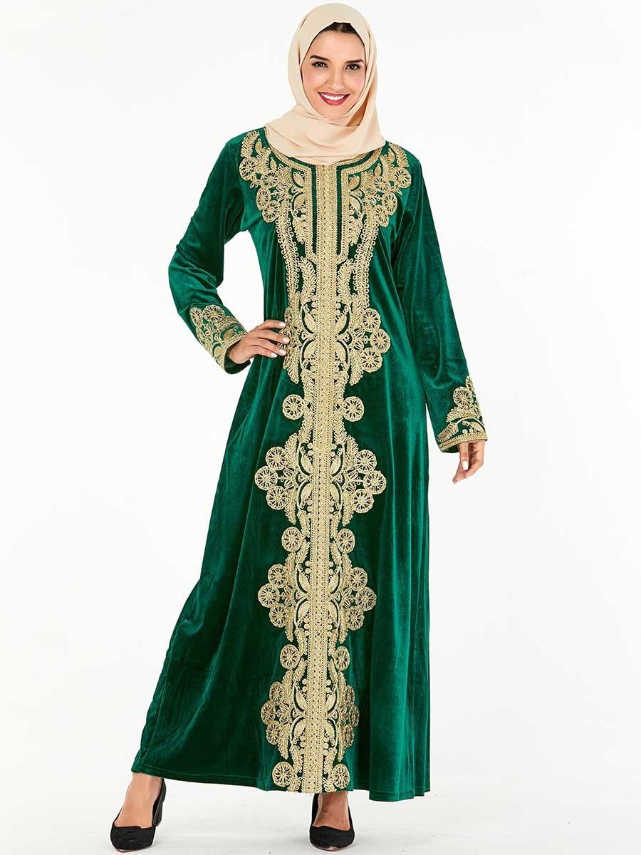 Vestido Hijab musulmán elegante de talla grande para mujer, vestido Abaya árabe de manga larga de Dubái, ropa islámica 4XL