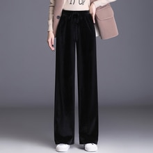 2020 New Winter Corduroy Trousers Women Lace Up Stretch High Waist Pants Casual Wide Leg Slimming Lo
