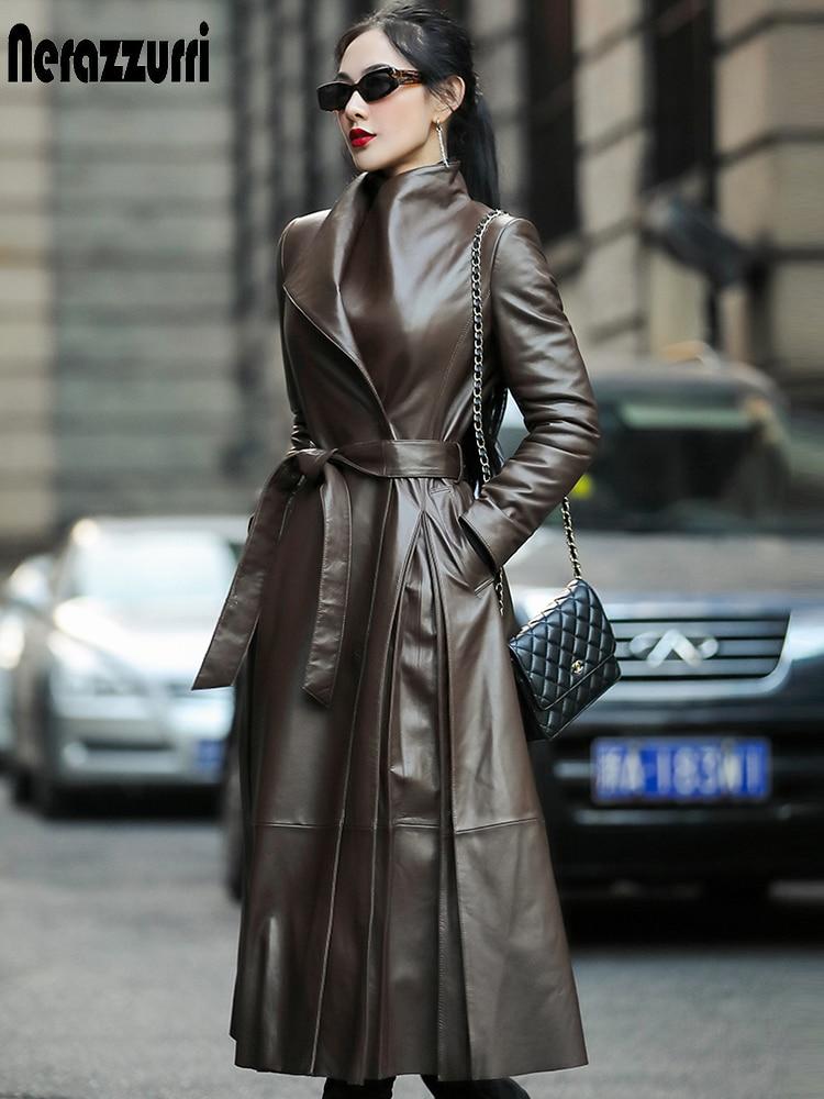 Nerazzurri Autumn long leather trench coat for women belt long sleeve skirted faux leather coat women plus size fashion 2020 7xl