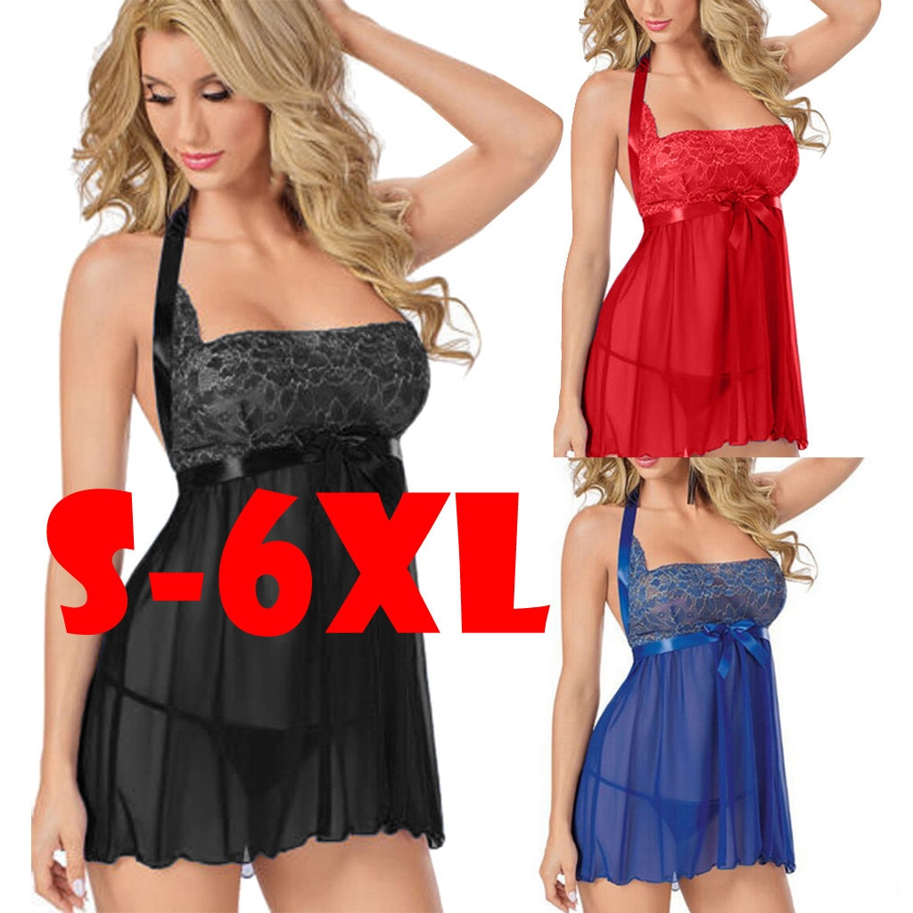 S-6XL Women Sexy Plus Size Garter Lingerie Chemise Blind Fold Intimate Babydoll Two Pieces Set Lace Underwear For Couples