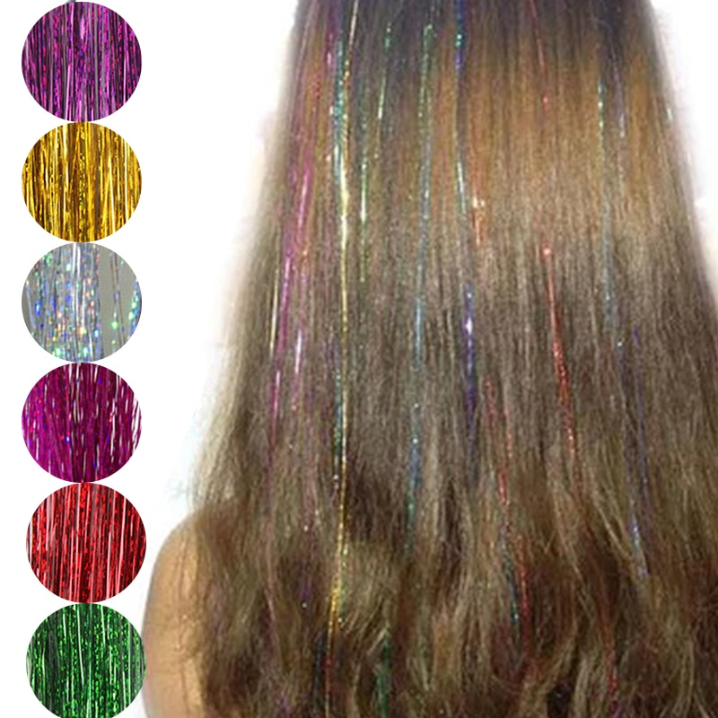 Fashion Sexy 8 Colors Hair Tinsel Sparkle Glitter Extensions Highlights False Hair Strands Party Accessories Braiders Tools