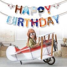 Bébé douche avion joyeux anniversaire bannière bricolage pilote aviateur thème fête décoration tenture murale bruant enfants fête faveurs