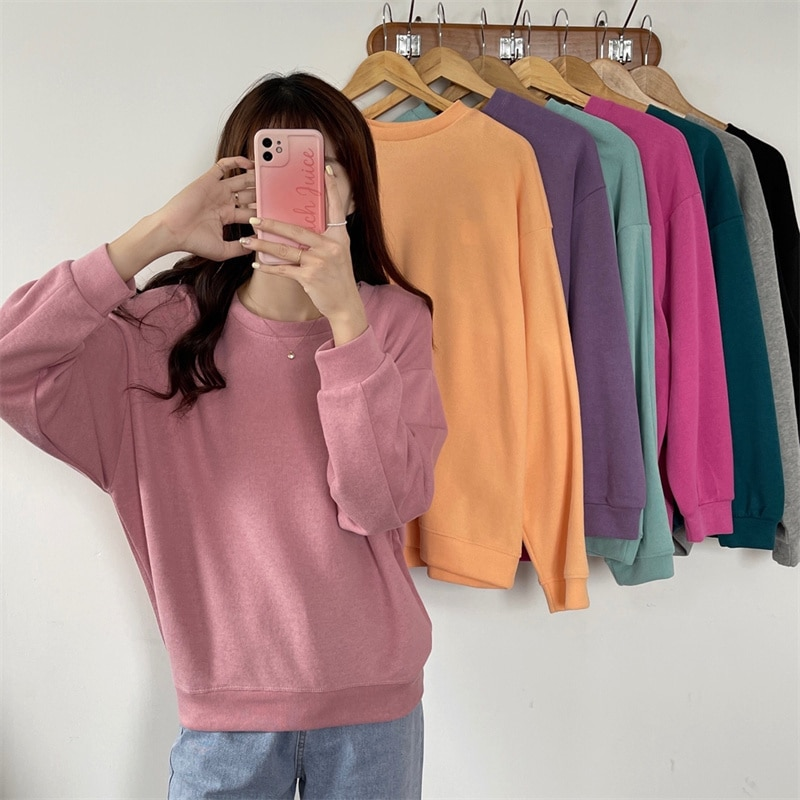 Hoodie Women Solid Color Loose Round Neck Sweater Korean Fashion Sweatshirt Casual Female Clothing G