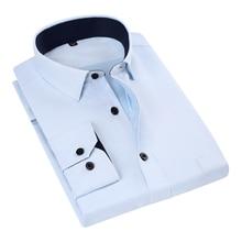 2020 New Man Shirts High Quality Long Sleeve Simple Solid Striped Twill Male Formal Shirts Men Business Dress Brand Shirt DA001