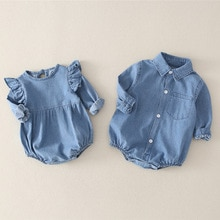 Yg Brand Children's Wear 2021 New Baby Jumpsuit, Spring And Autumn Baby Boy Denim Shirt, Baby Long S