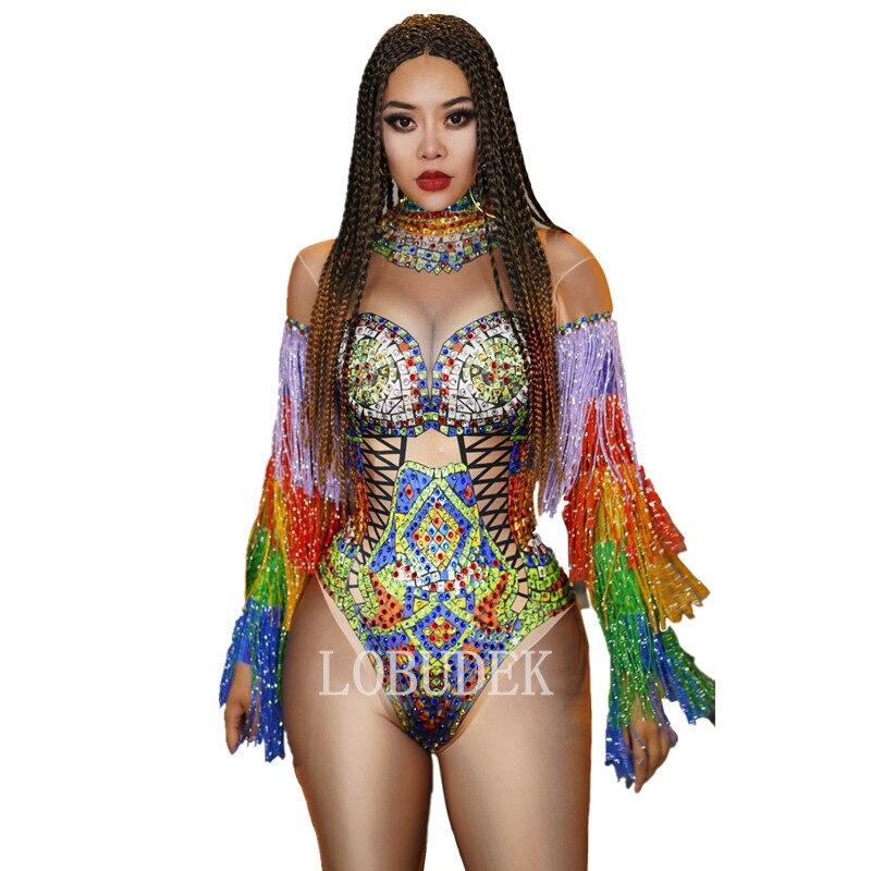 Разноцветные стразы с кисточками на рукавах боди для женщин DJ певица бар Сексуальный Костюм Клубные вечерние танцовщицы кристаллы боди с бахромой