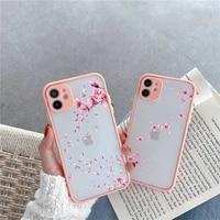 cute flower bumper girl petals phone case for iphone 12 11 mini pro xr xs max 7 8 plus x matte transparent pink back cover