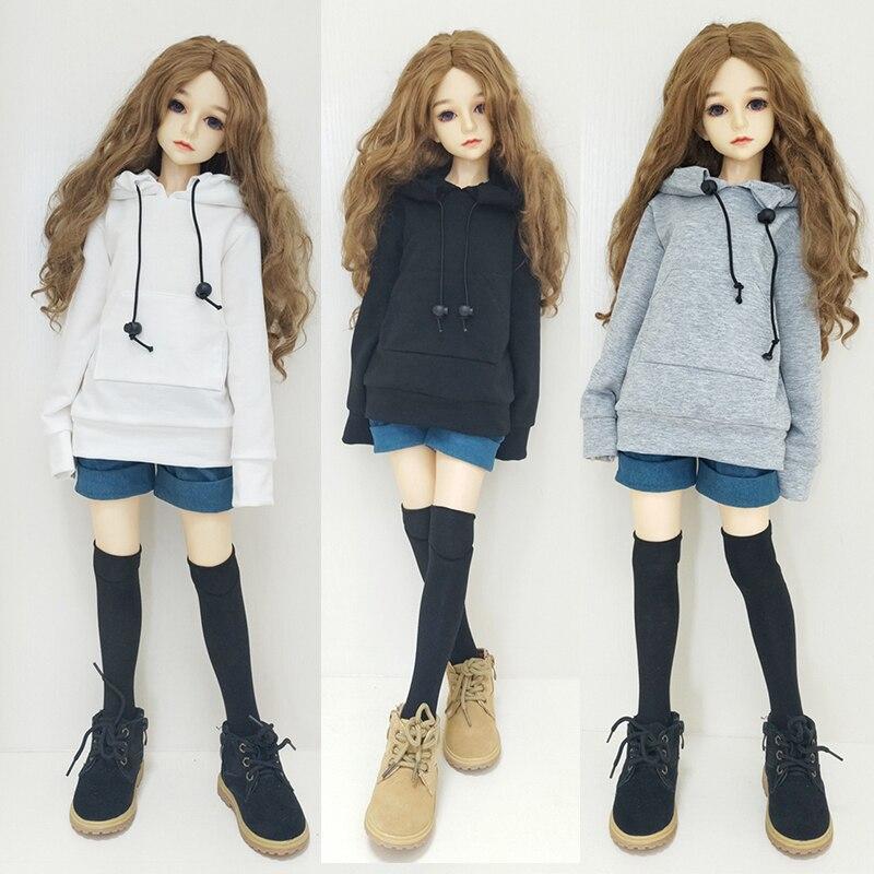 Одежда для кукол Аксессуары Одежда 1/3 1/4 1/6 SD BJD Свитшот куклы белая кепка свитшоты черная хлопковая нить игрушки для детей