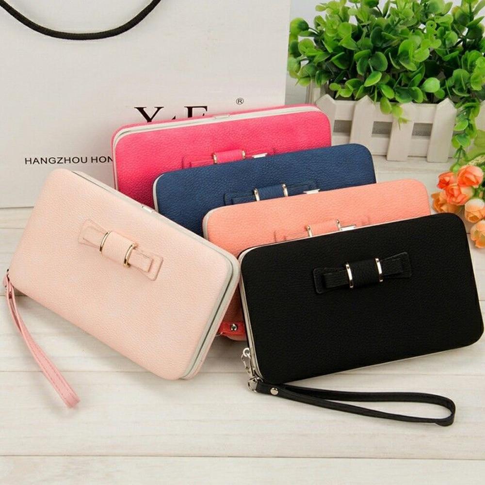Fashion Casual Long Women Bow Wallets Heel Purses Box Card Holder Lady Clutch Phone Handbag Case PU Leather Storage Bag Home