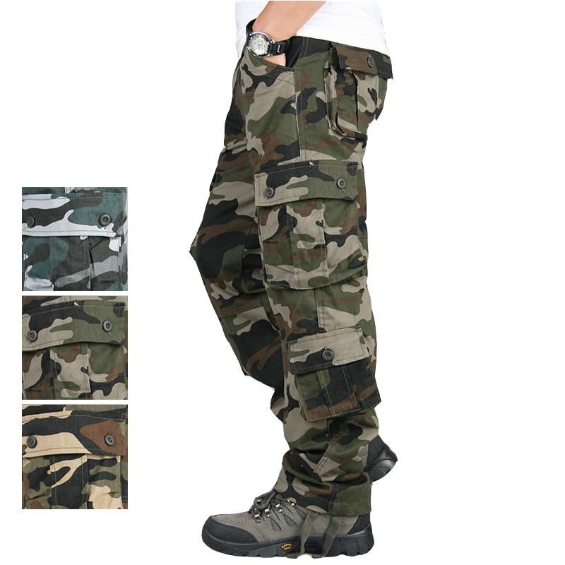 Мужские брюки карго Повседневное несколькими карманами камуфляж тактические брюки для мужчин прямые длинные штаны свободного кроя размер...