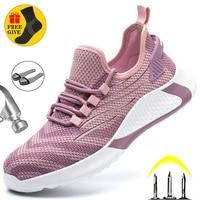 Кроссовки мужские/женские со стальным носком, безопасная обувь, легкие рабочие ботинки, неразрушаемые, Рабочая обувь унисекс