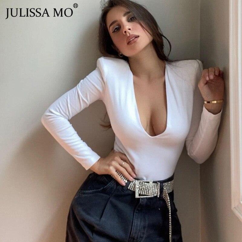 Julissa mo preto profundo decote em v bodysuit feminino 2021 sexy primavera manga longa bodycon corpo terno topo moda básica macacão feminino novo