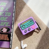 smooth silicone cartoon purple radio replica old school screen earphone case for airpods 12 pro buy one get anti lost ring free