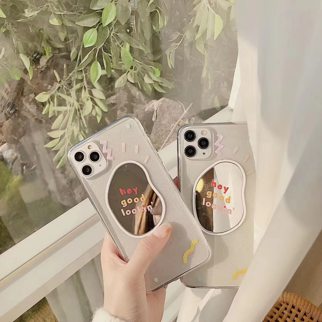 INS Corea lindo divertido graffiti espejo de maquillaje funda de teléfono Punto de onda para iPhone 11 pro MAX Xs MAX Xr X 7 8 plus suave de TPU