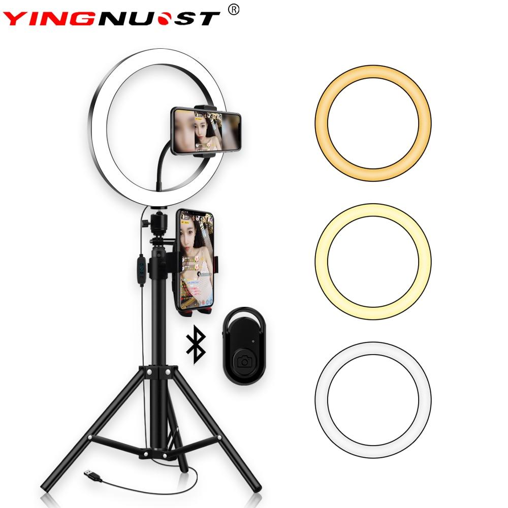 Anillo de luz LED 5600K 10 pulgadas 26cm lámpara regulable fotografía estudio Video con 150CM trípode Selfie Stick USB Plug & Soporte de teléfono