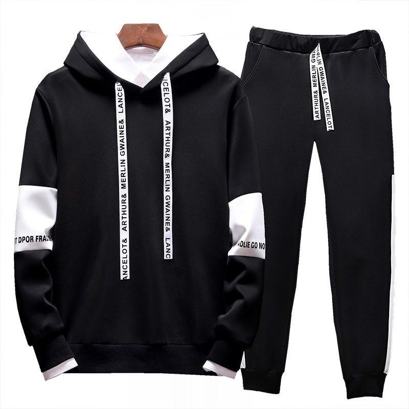Новинка, брендовая одежда, мужской повседневный свитшот, пуловер, мужской спортивный костюм, худи из двух предметов и брюки, спортивные руба...