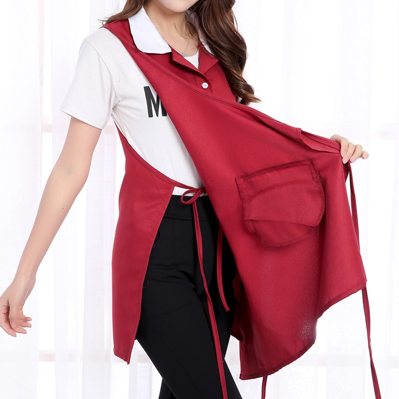 Sleeveless Nail Waitress Apron For Woman  Kitchen Home Apron Adult Work Coffee Restaurant Apron With Pocket