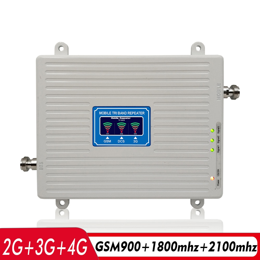 2G 3G 4G Tri-Band Signal Booster GSM 900+DCS/LTE 1800(Band 3)+UMTS/WCDMA 2100(Band 1) Mobile Signal Repeater Cellular Amplifier enlarge