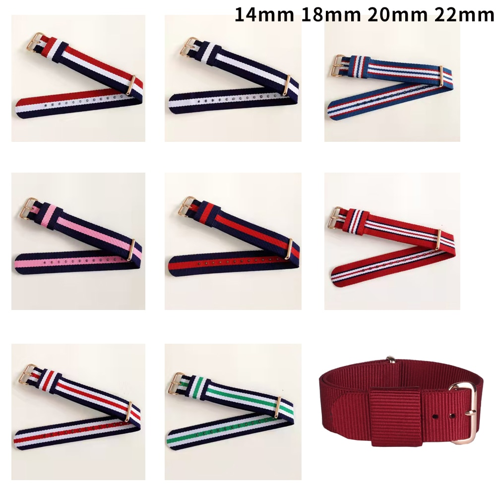 18mm 20mm 22mm 14mm Army Sports Nato Strap Fabric Nylon Watchband Buckle Belt for 007 James Bond Watch Bands Colorful Rainbow