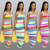 dresses for women party striped summer dress with thin shoulder strap slit long skirt ladies party sexy casual dress 2021