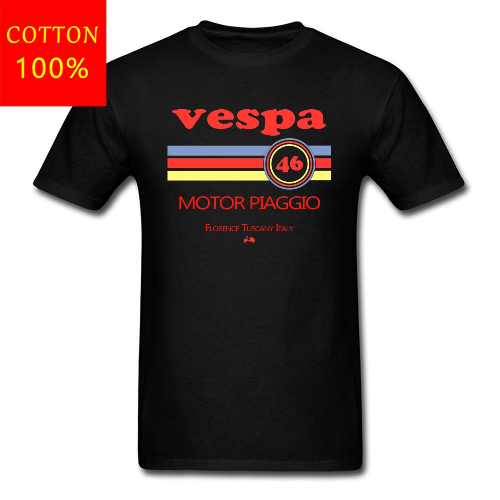 Vespa Motor Piaggio Italy Motorbike Vintage Tshirts Logo diseño cómodo MenS Tops camiseta algodón impresión ciclista camiseta