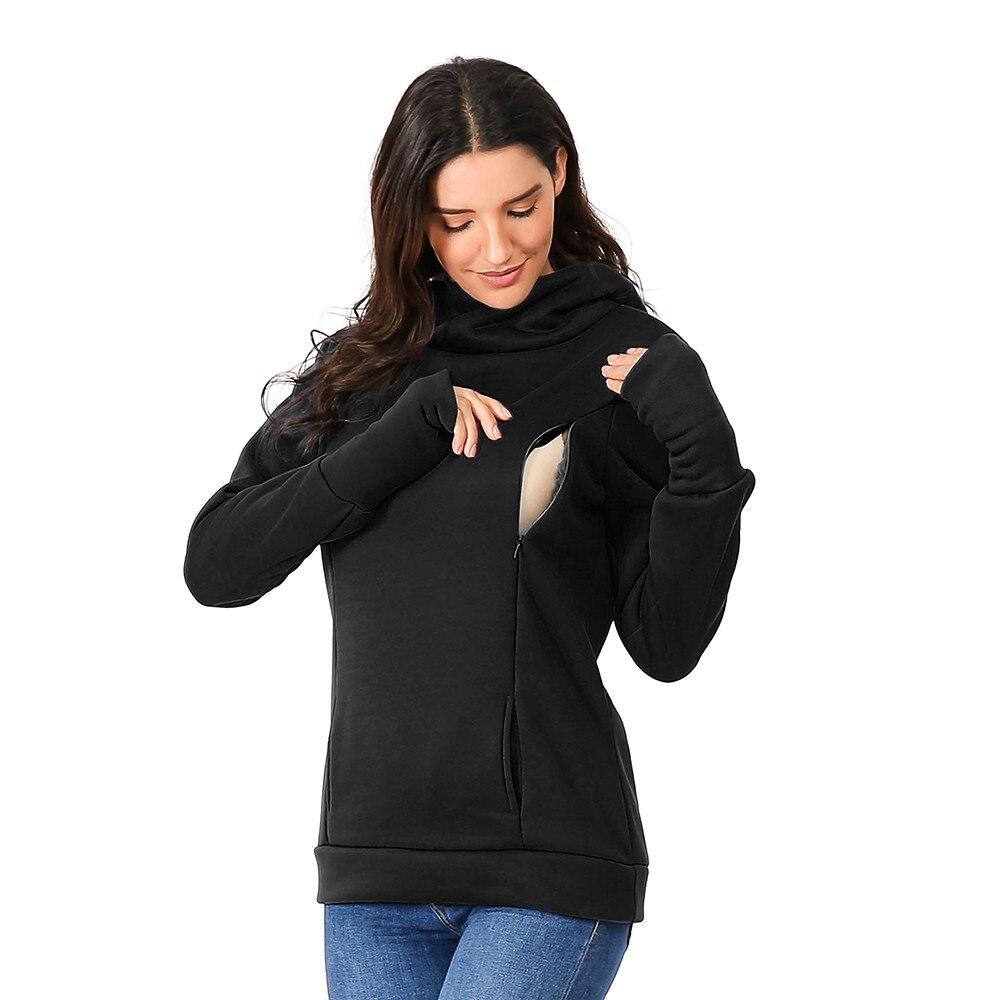 Sudadera con capucha de manga larga para maternidad y lactancia para mujer