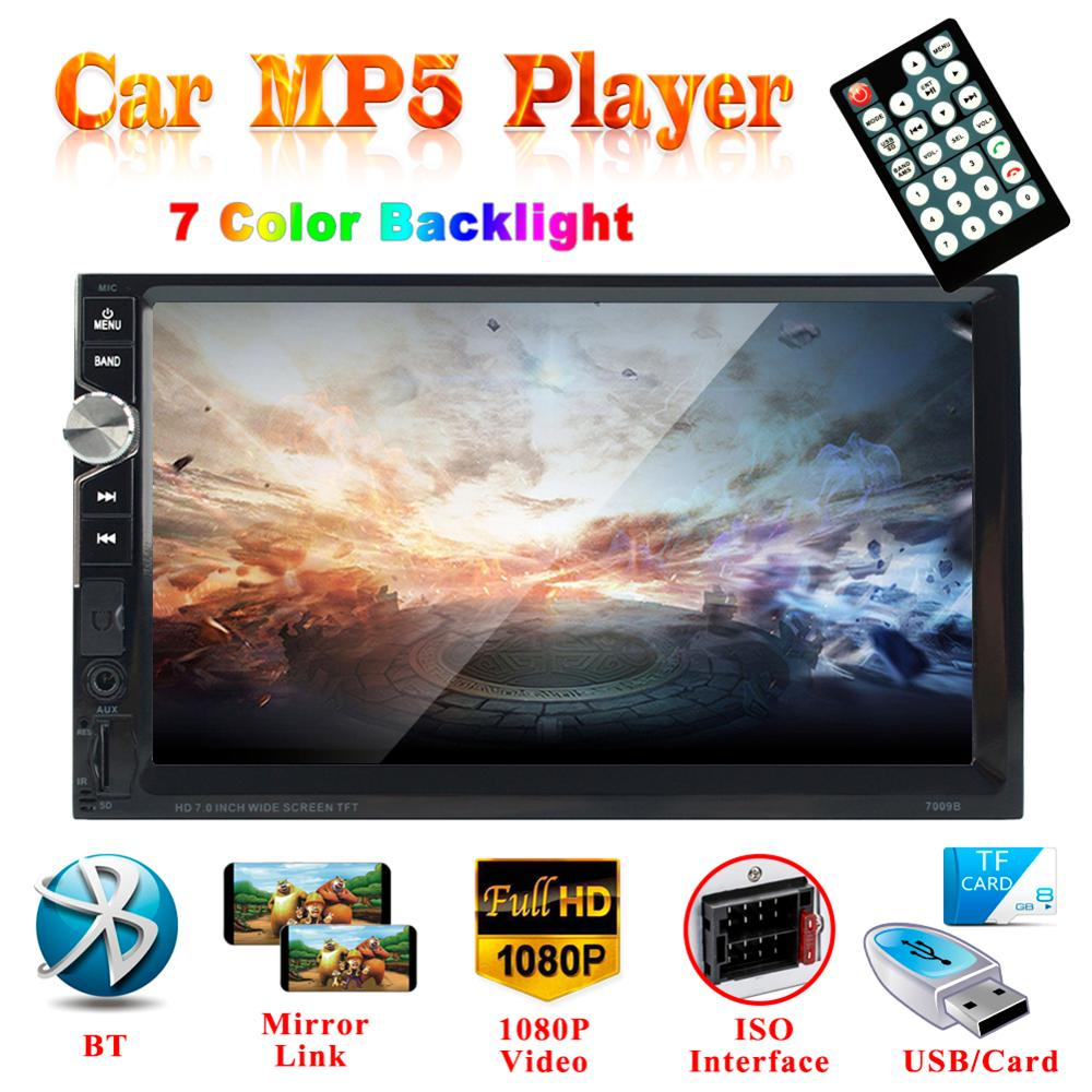 Bluetooth Double Din In-Dash MP5 Player 7 Touch Screen FM Radio Receiver Support TF/USB Auto audio Car Stereo MP5 7 hd touch screen 12v car stereo player 7010b car radio autoradio mp5 fm bluetooth mirror link 2 din car radio stereo receiver