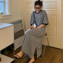 Striped Sloth Dress Women Long Belly Covering Casual Loose Lazy Style Clothes Harajuku Ladies Dresse