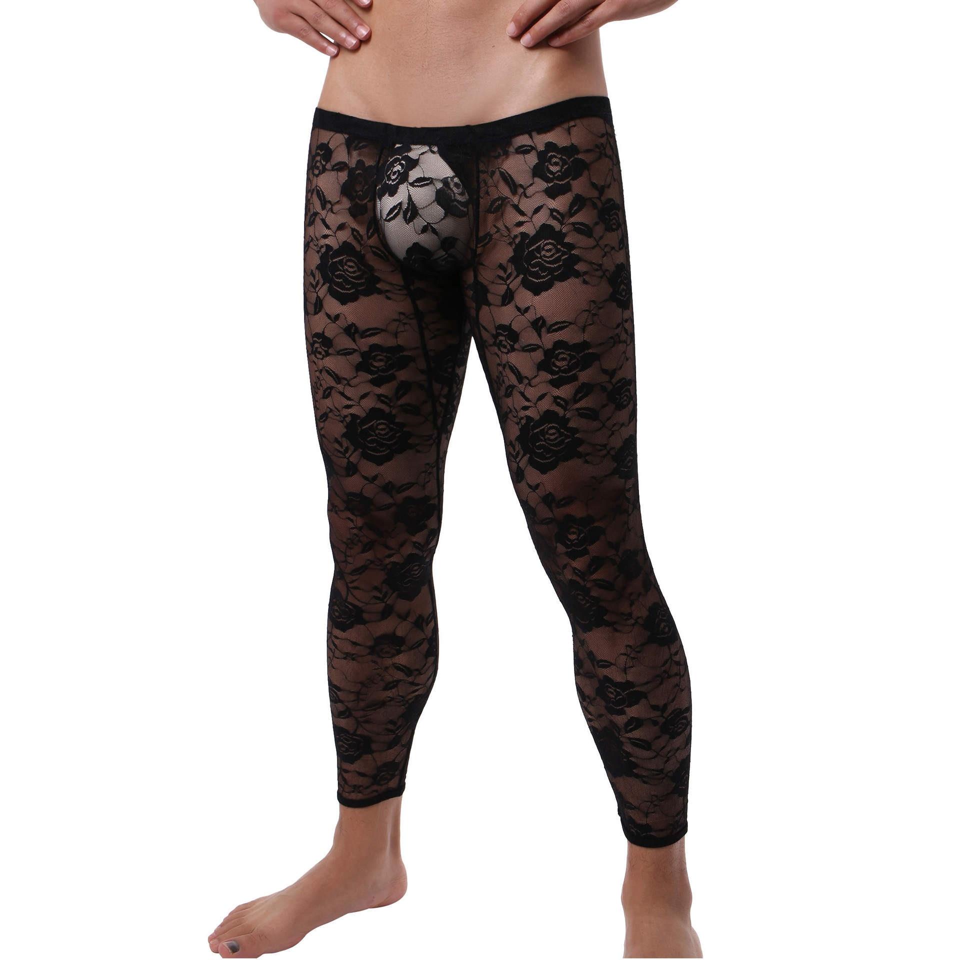 Pantalones largos sexis de encaje transparente estampado Sexy ropa interior Gay para hombre Legging ajustado largo calzoncillos ajustados para montar Fitness