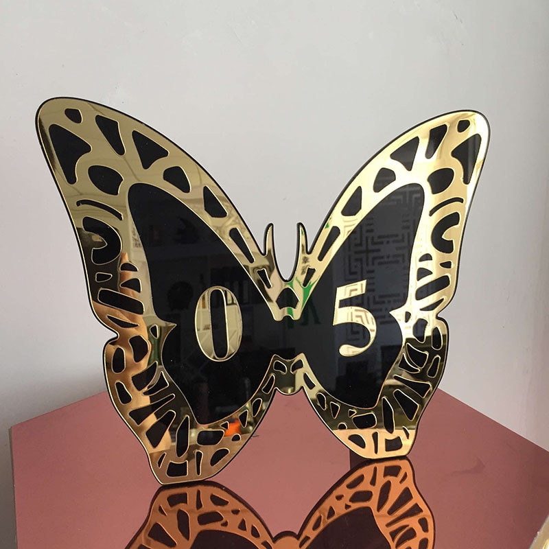 Exquisite Black And Gold PVC Hot Selling Hospitality Supplies Table Numbers For Wedding Party 1 Set