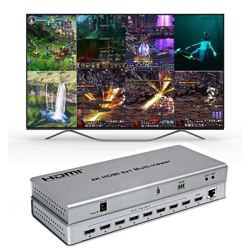 Multivisor 4K HDMI 8X1 multivisor en tiempo Real 8 en 1 salida con HDMI Función de conmutador continuo Plug and play