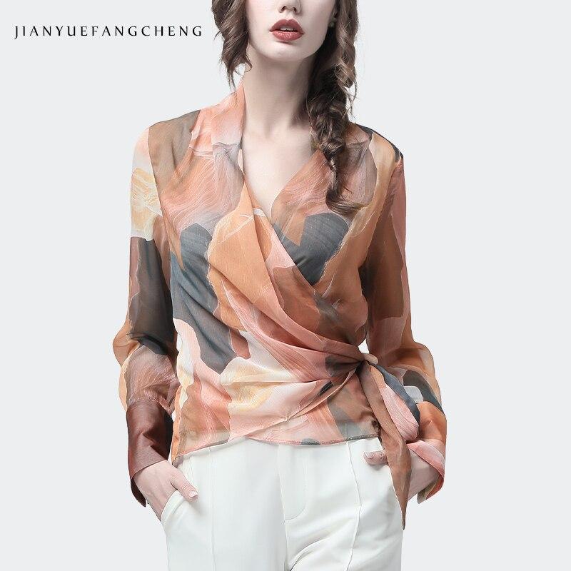 Blusa Casual de verano de Otoño de manga larga con cuello en V cruzado blusas delgadas con estampado de naranja artística superior de gasa para mujer