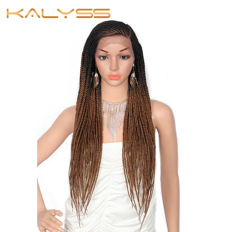 Kalyss 30 Inches Synthetic Lace Front Twist Braids Wigs with Baby Hair 13x6 Side Part Hand-Braided Box Wig for Black Women