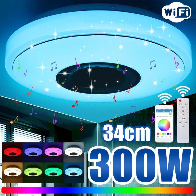300 واط واي فاي الحديثة RGB الموسيقى مصباح السقف إضاءة المنزل APP بلوتوث موسيقى خفيفة غرفة نوم الذكية LED ضوء السقف التحكم عن بعد