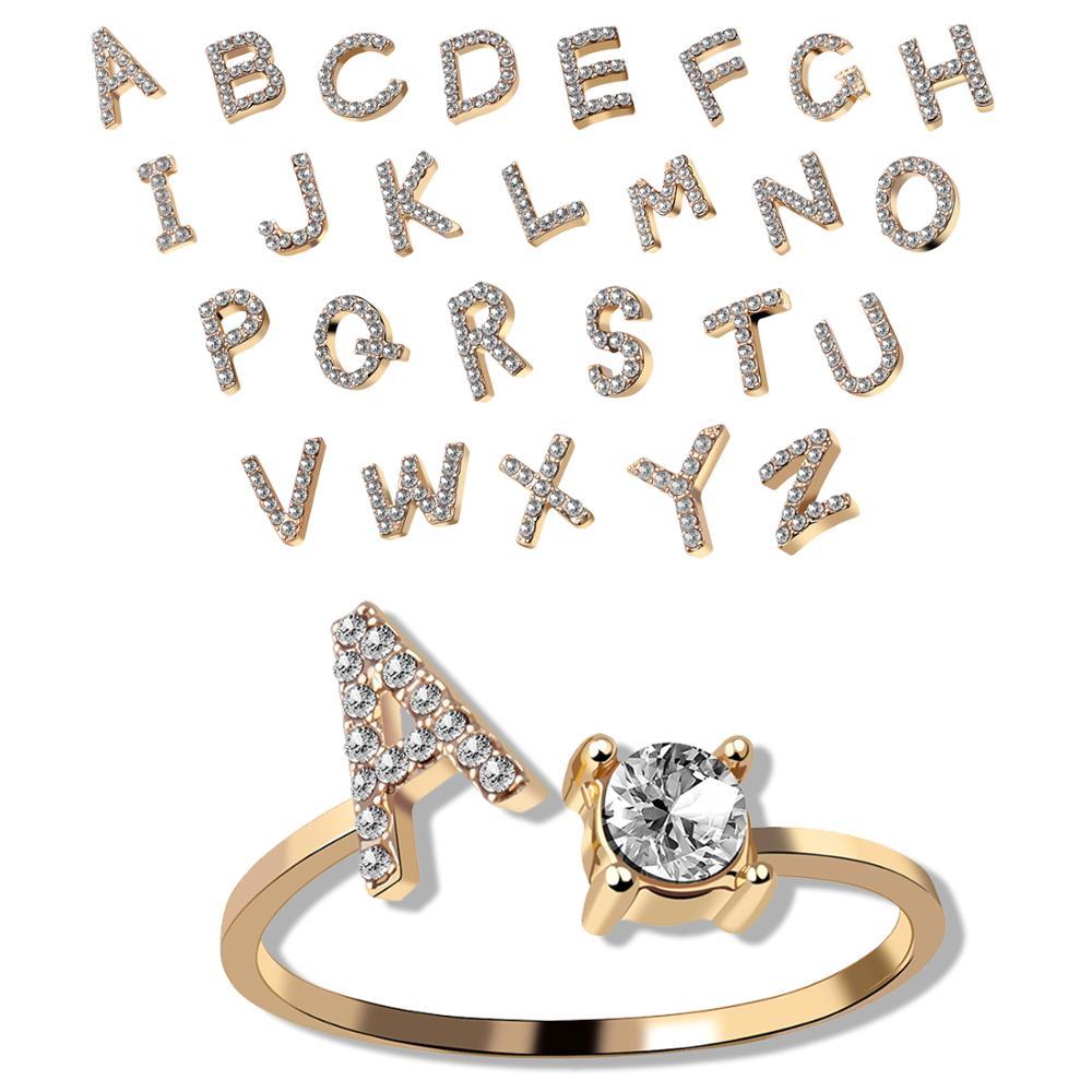 Bonitos 26 anillos con letras para mujer, anillo de circonio CZ con diamantes de imitación ajustables, letra del alfabeto inicial, pequeños anillos abiertos accesorios de dedo