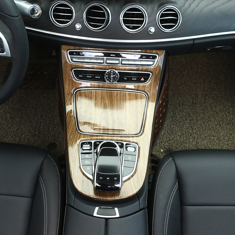 5 Color ABS Black wood grain For Mercedes Benz E Class W213 2016-2018 Console Gear Panel Frame Cover Trim Interior Accessories enlarge