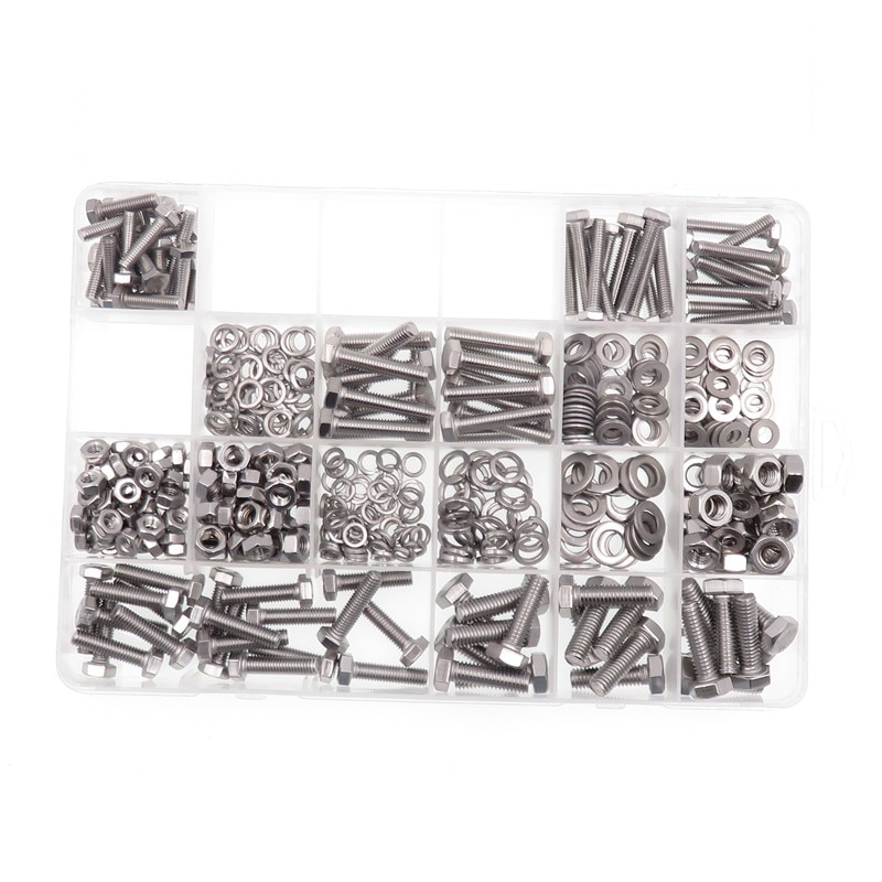 475pcs Hexagon Socket Head Screws Kits Carbon Steel Hexagon Bolts Nuts Flat Spring Washers Gaskets Hardware Accessories