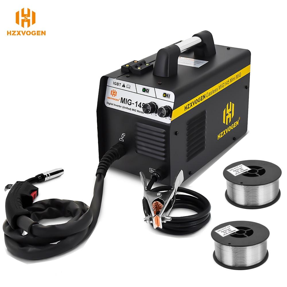 220V HZXVOGEN Mig Welder MIG145 No Gas Gasless Semi-automatic Welding Machine Fit 0.6/0.8mm Flux Core For Iron Soldering