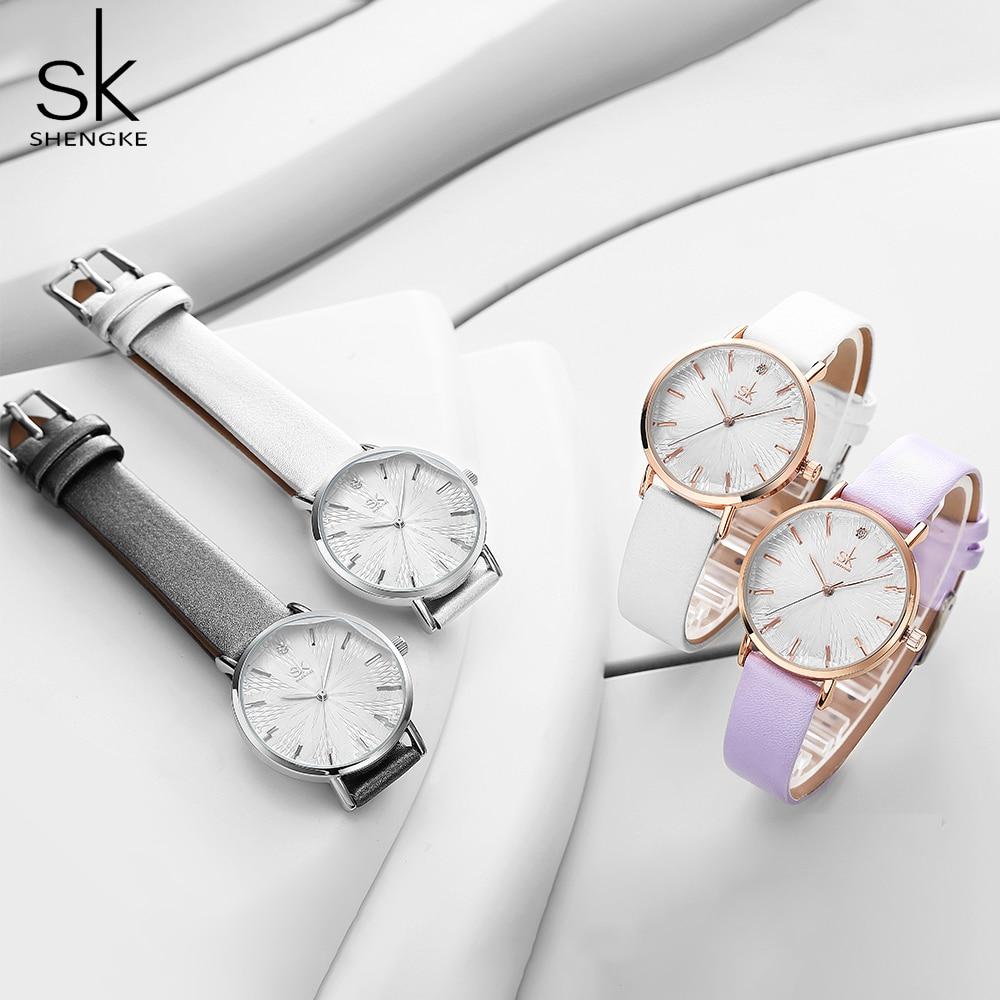 Shengke Fashion White Stylish Women Watch Leather Band Analog Round Wrist Watch Quartz Watches Women Clock Reloj Mujer Elegant enlarge