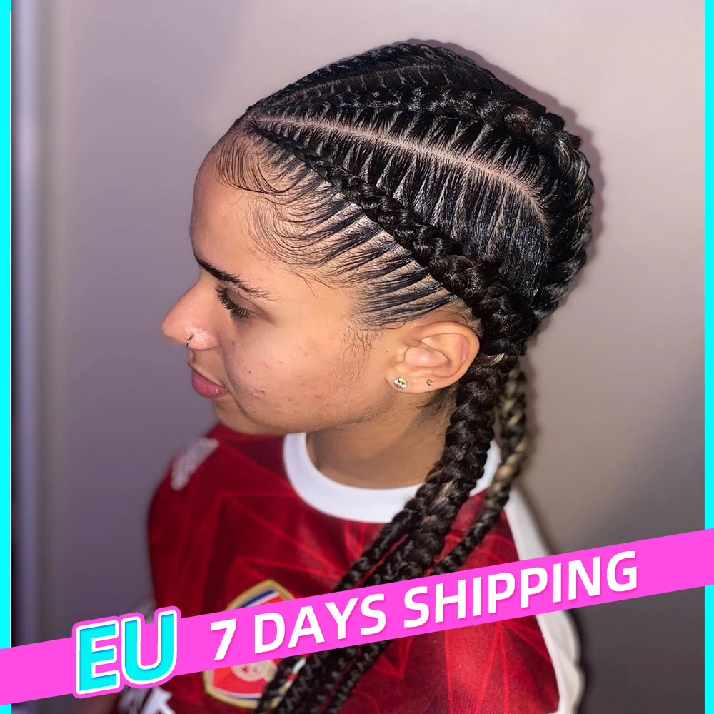 24Inches Braided Wig Wig Braids African Synthetic Lace Wigs For Black Women Handmade Blonde Wig With Baby Hair Box Braid Wigs
