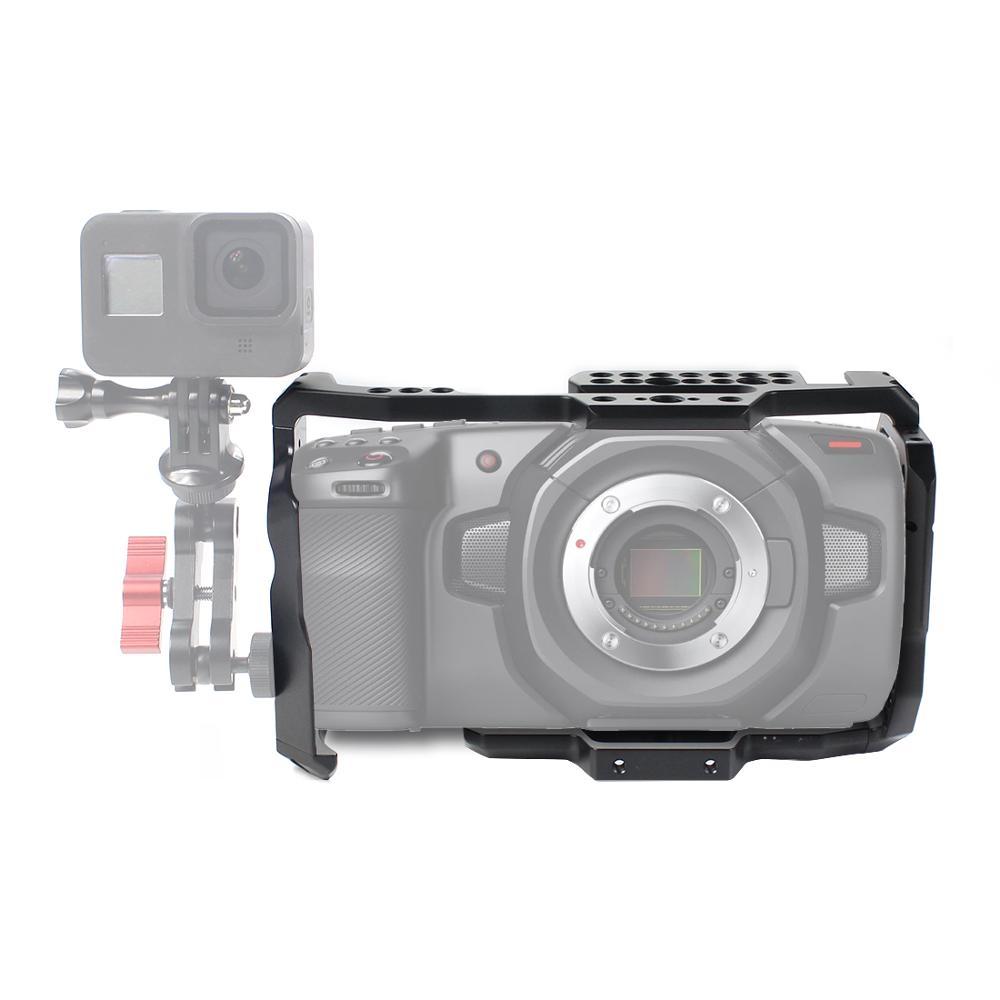 ل BMPCC 4K 6K هيكل قفصي الشكل للكاميرا ث/مقبض علوي قبضة شريط فيديو فيلم فيلم الإفراج السريع لوحة ل Blackmagic جيب سينما استقرار