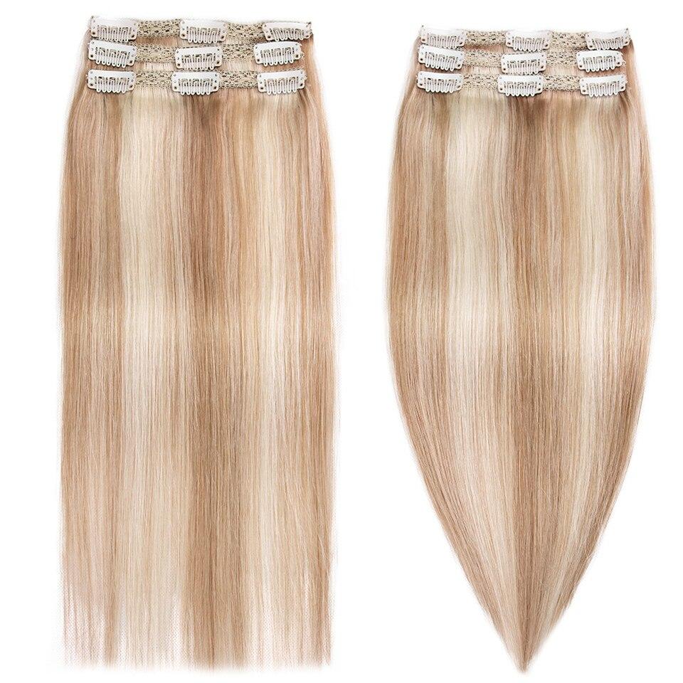 Mrshair laço trama sewin clipe em extensões de cabelo 100% cabelo humano 3 pçs 9 clipes destaque loira #60 #27 máquina remy cabelo peças