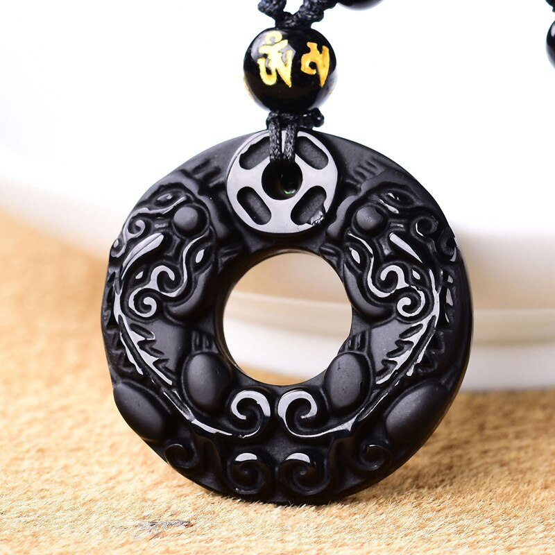 Gota ShippingHigh calidad 100% Natural negro obsidiana talla Pixiu amuleto suerte colgante...