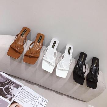 Шлепанцы женские с открытым носком, сандалии на тонком высоком каблуке, без застежки, Повседневные тапочки, сланцы