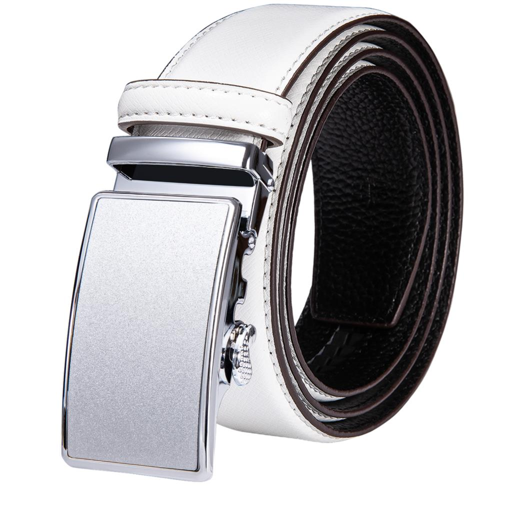 White Real Leather Mens Belts Automatic Buckles Men Belt Ratchet Waistband Straps for Dress Jeans Sliding Buckle Easy Release